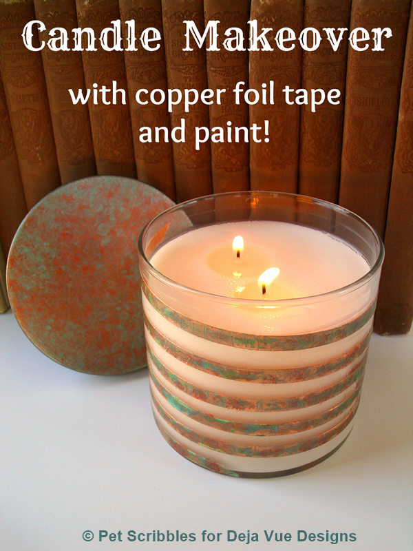 Candle Makeover with copper foil tape and paint!