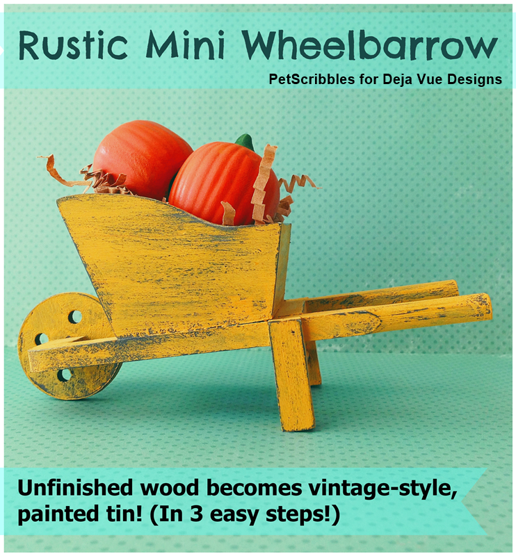 DIY Rustic Mini Wheelbarrow with a painted tin finish