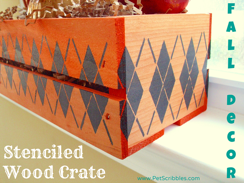 Fall Decor: Stenciled Wood Crate #plaidcrafts #falldecor
