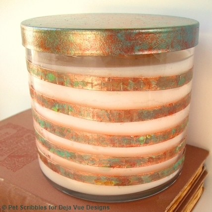 copper foil tape candle makeover