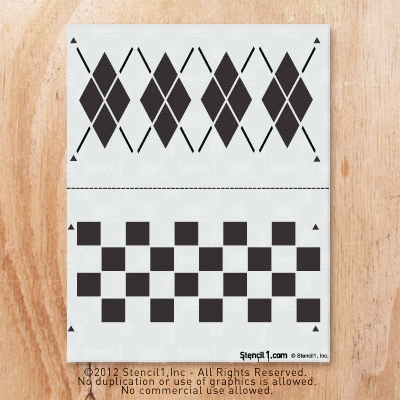 Stencil1 argyle and checker pattern 2-pack of stencils