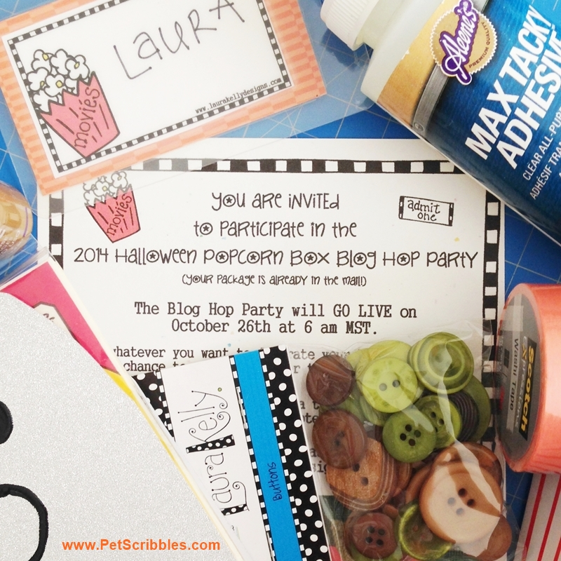 Halloween Popcorn Box Blog Hop Party Invitation!