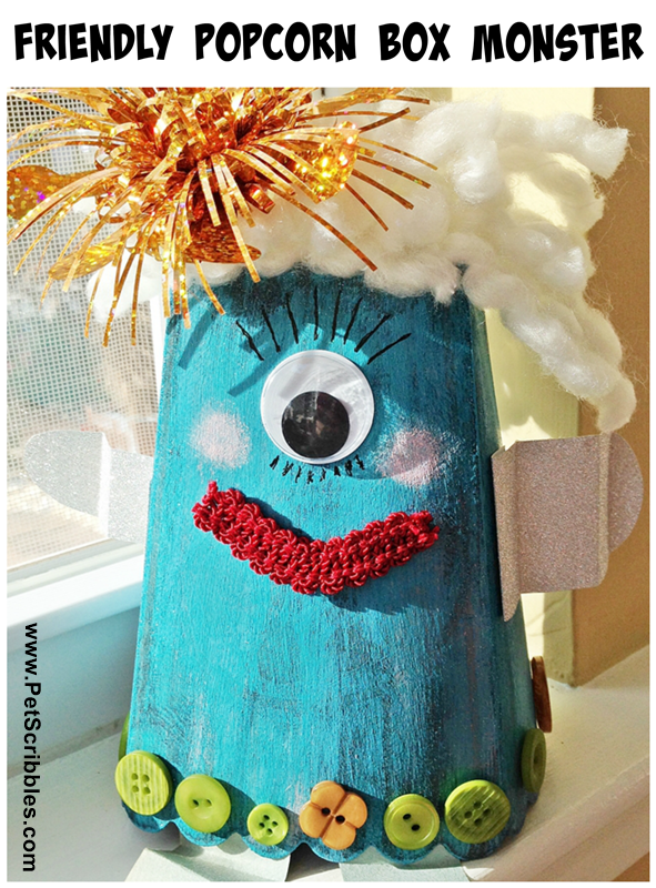 A Friendly Popcorn Box Monster craft, part of the Halloween Popcorn Box Blog Hop!