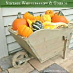 Fall Decor: vintage wheelbarrow and gourds vignette