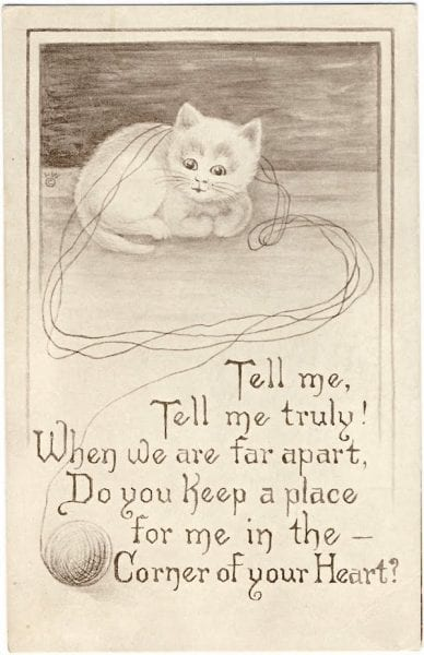 Cat with yarn vintage image