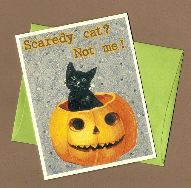 Scaredy Cat Halloween Card by Pet Scribbles on Etsy