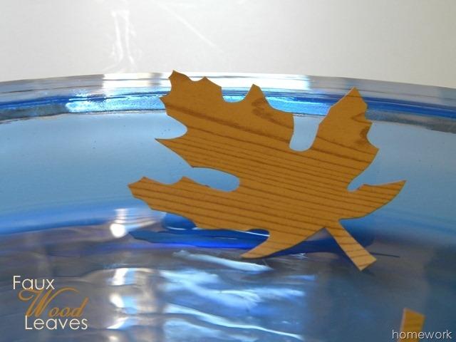 Faux Wood Leaves with contact paper via homework | carolynshomework.com