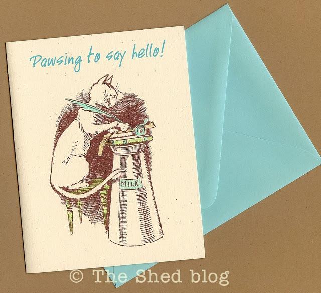 Pawsing to say hello handmade notecard