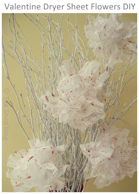 Valentine Dryer Sheet Flowers DIY   Pet Scribbles