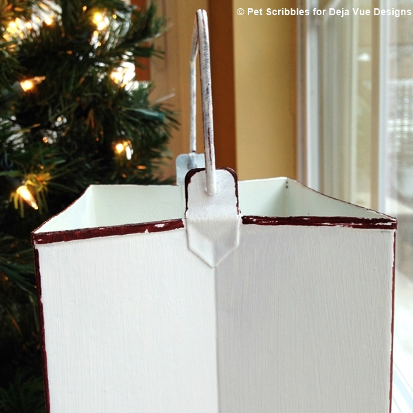 A holiday tin luminary makeover in two steps, with chalky finish paint and a Sharpie!