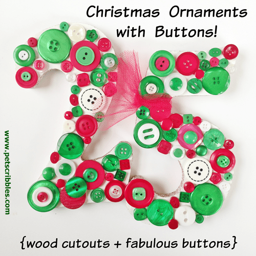 Christmas Ornaments with Buttons Galore & More