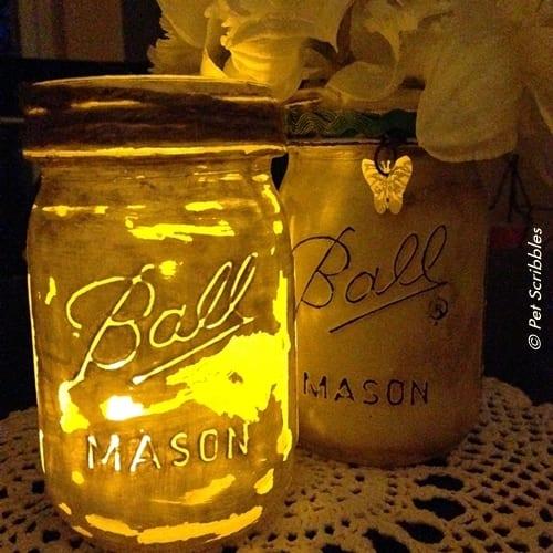 Distressed mason jar luminary