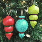Painted and Glittered Wood Ornaments