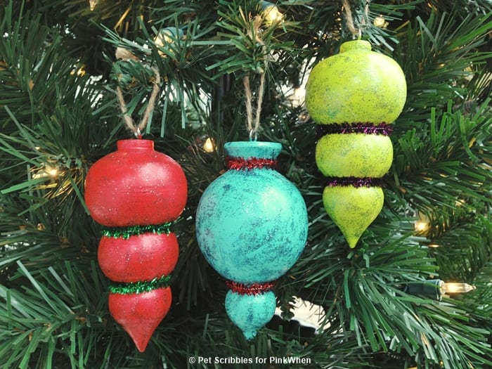Painted and Glittered Christmas Ornaments