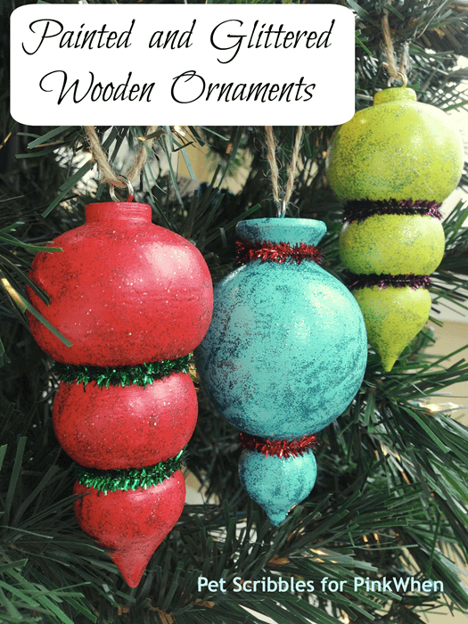 Painted and Glittered Wooden Ornaments