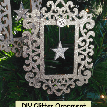 Silver Glitter Ornament with a hanging star inside! DIY with pictures!