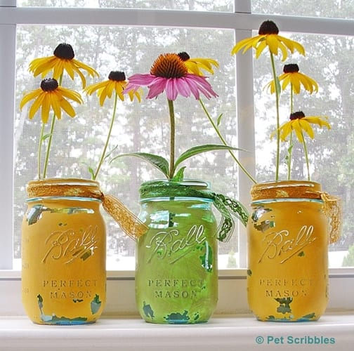 painted distressed blue glass mason jars