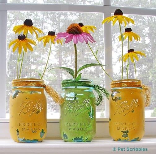 painted distressed blue glass mason jars