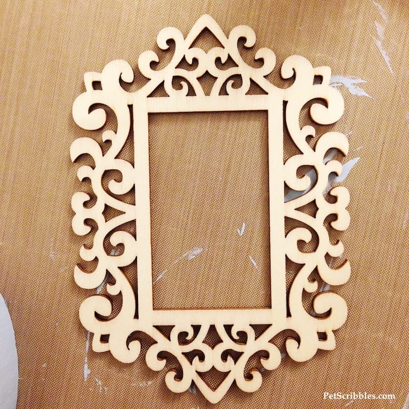 unfinished wood laser cut ornament frame