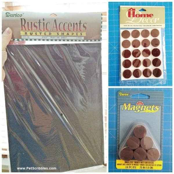 Darice craft supplies to make a rusty magnet board
