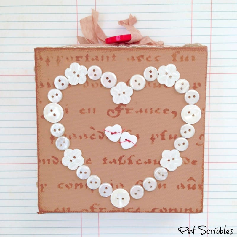 DIY Valentine Canvas Block mixed media art to enjoy all year!
