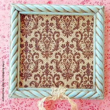 chalk painted frame with brown wax