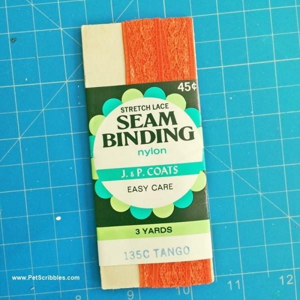 orange vintage lace seam binding