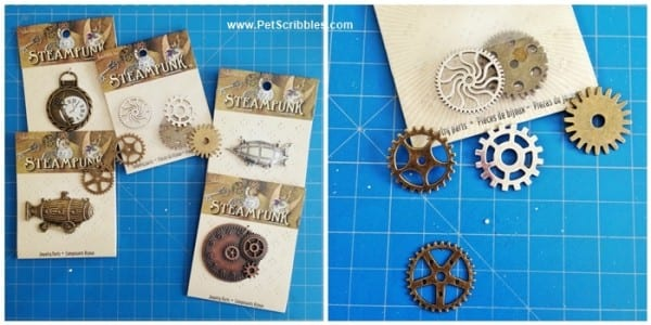 Steampunk jewelry findings to make Steampunk-inspired magnets