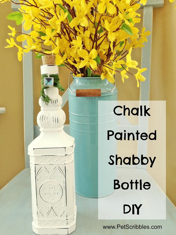 Chalk Painted Shabby Bottle