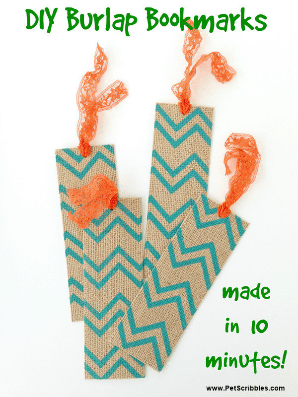 DIY Burlap Bookmarks - make in 10 minutes using printed burlap paper pads and ribbon or lace seam binding!