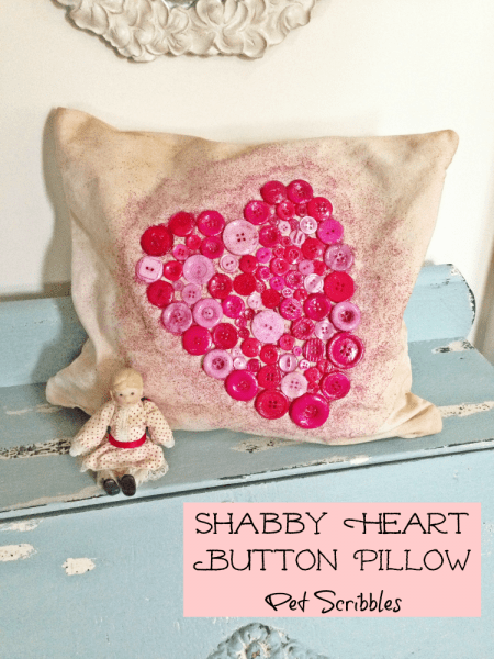 Shabby Heart Button Pillow for Valentine's Day