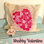 Shabby Button Heart Pillow