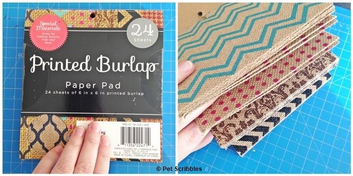 printed burlap paper pad