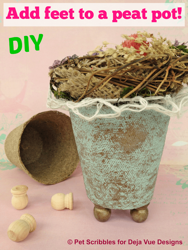 Add feet to a decorative peat pot