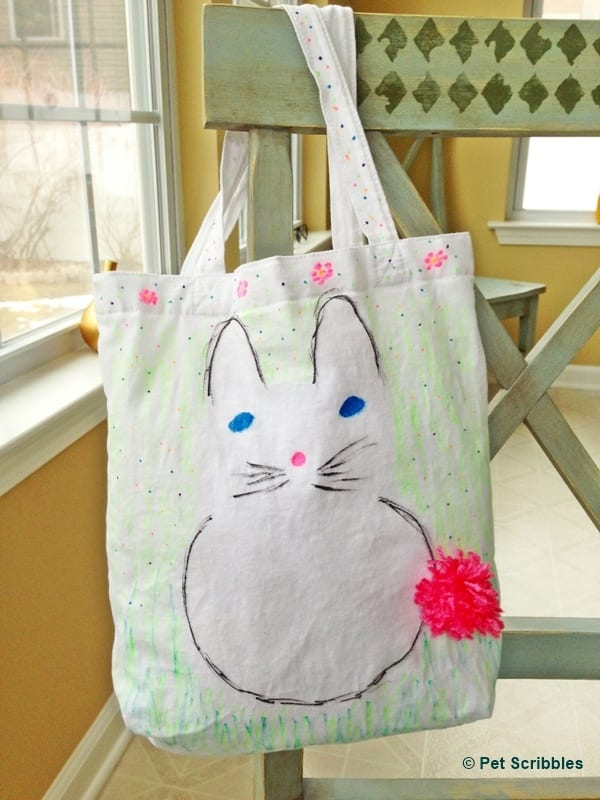 Bunny Tote DIY with fabric markers