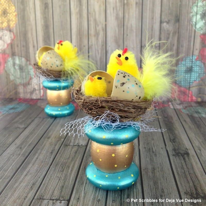 Easter Chicks Spring Spool Craft Idea