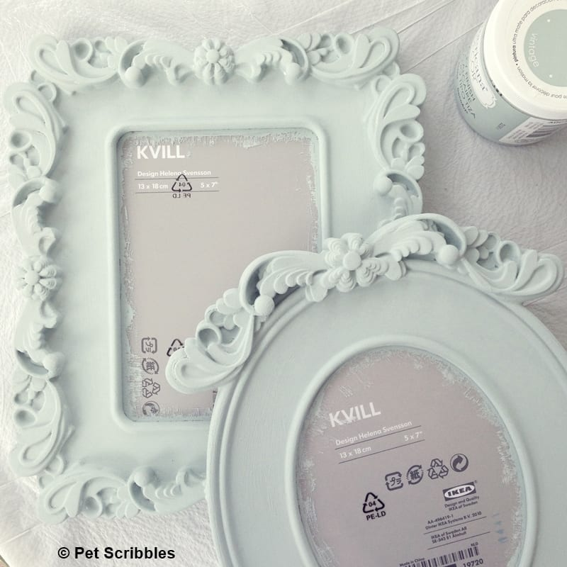IKEA KVILL Frames: from plastic to painted wood - Pet Scribbles