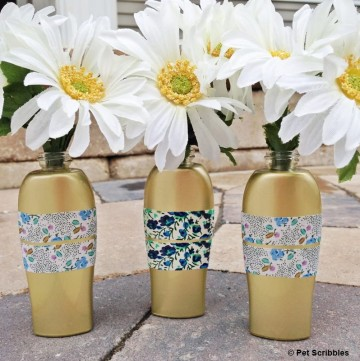 Upcycled Bud Vases from ROC Skincare bottles