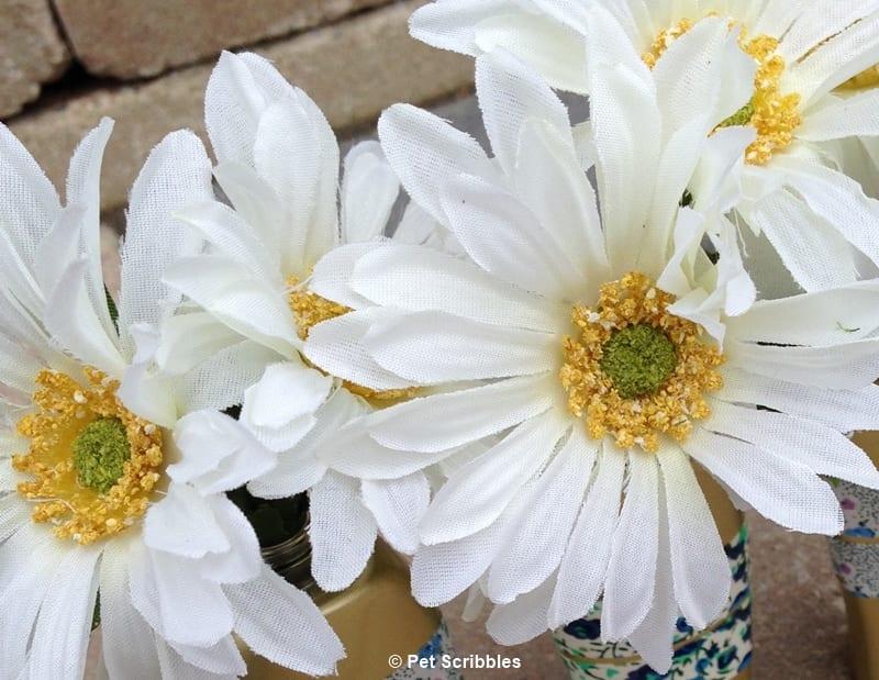 faux daisies