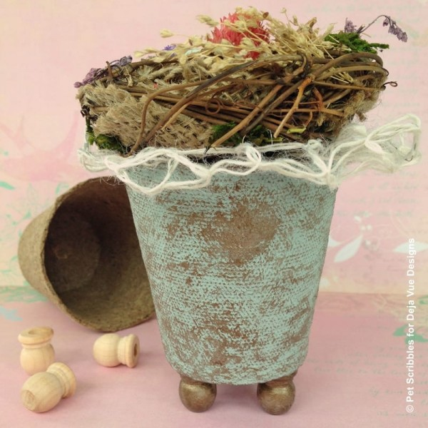 how to add feet to a peat pot