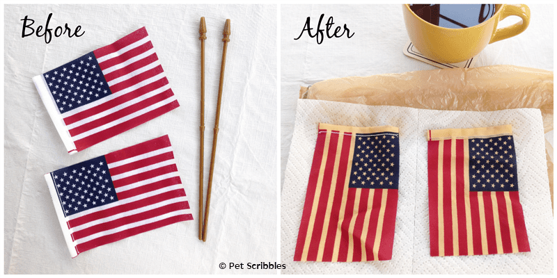 Tea Stained Flags, before and after