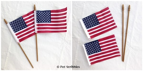 how to tea stain small American flags