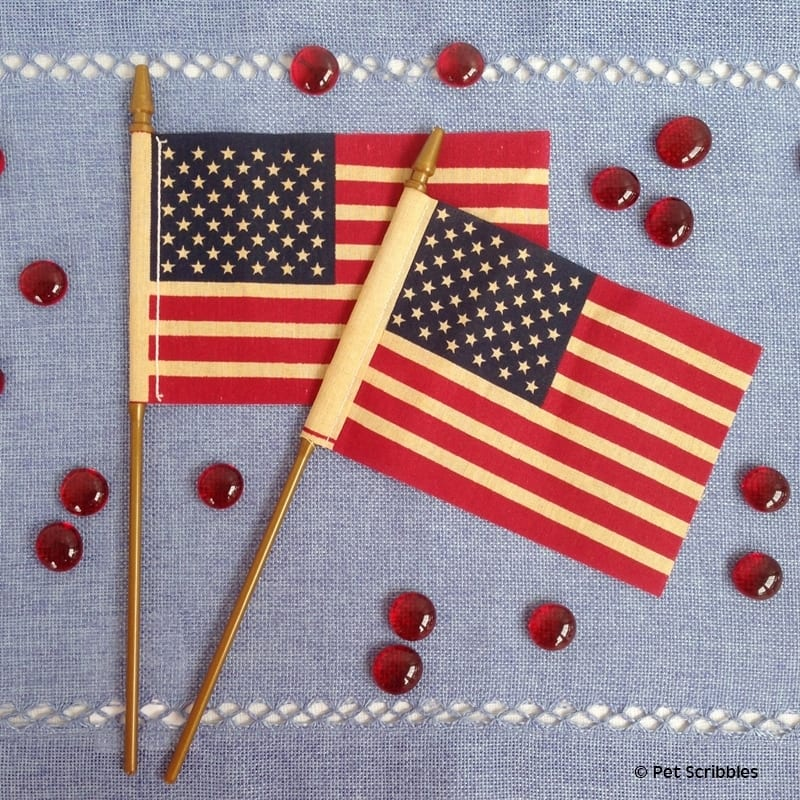 tea stained American flags