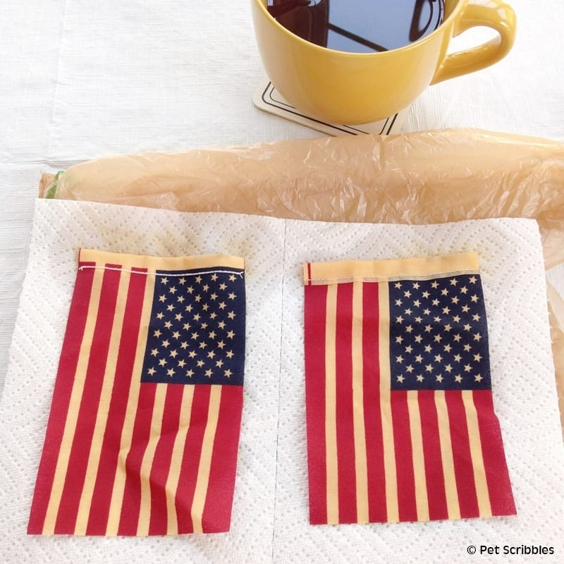 tea staining small American flags