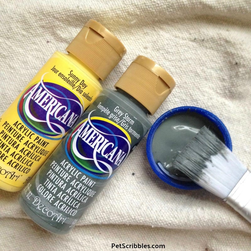Americana yellow and grey craft paints