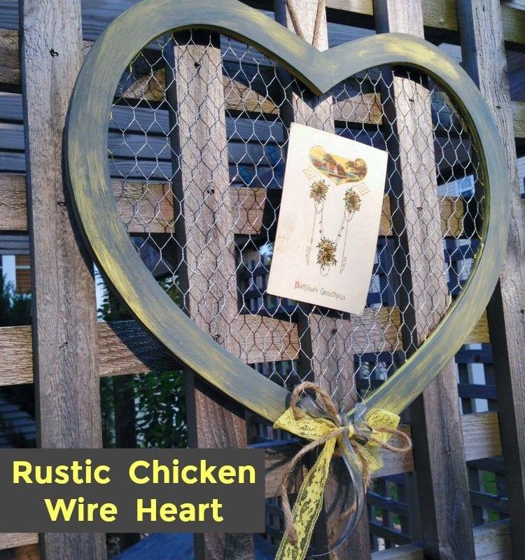 Rustic Chicken Wire Heart Decor