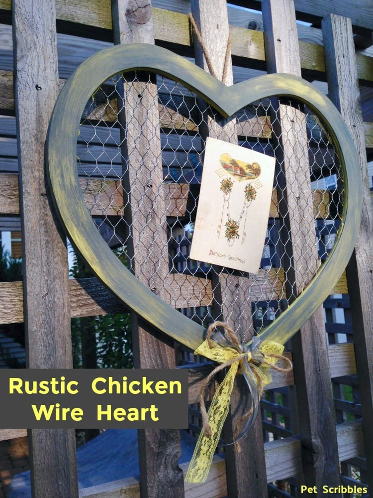 Rustic Chicken Wire Heart Decor
