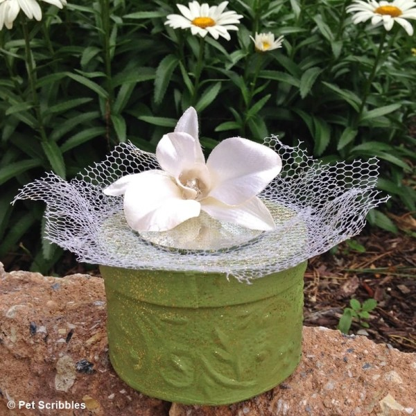 chalky painted paper mache box wedding favors