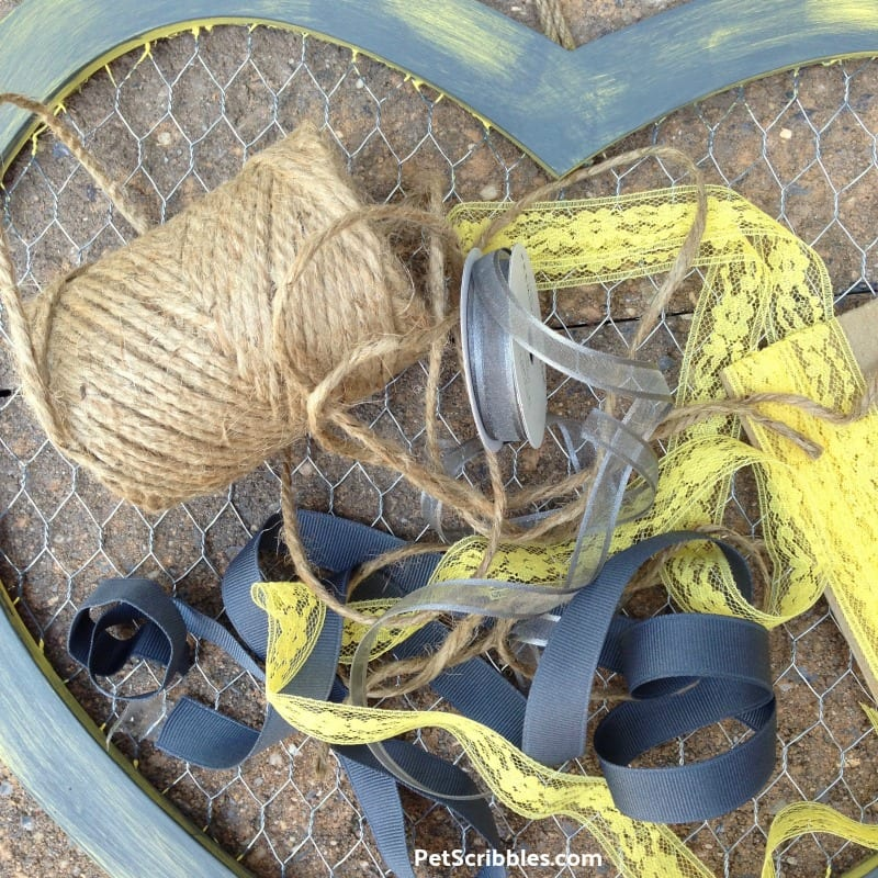 grey and yellow ribbons plus twine