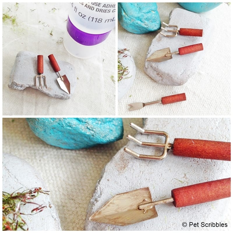 distressed fairy garden tools